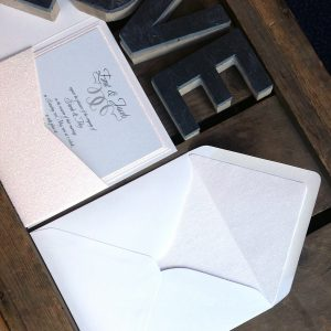 Your wedding guests will open the wedding invitation and immediately see sparkly glitter paper.