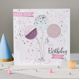 Highlights of foil and embossing on our Confetti greeting card range.