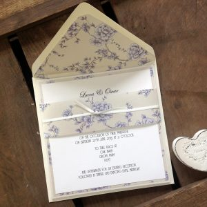 Coordinating envelope liners and invitation wraps.