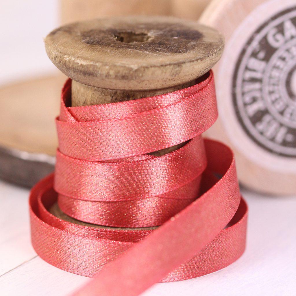 Berisfords Glitter Satin Ribbon - Coral