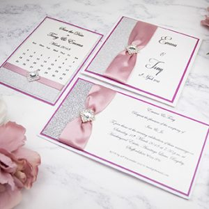 Pretty handmade wedding stationery by Mandy price of Elegant Creations.