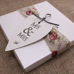 Make a simple box beautiful with gorgeous ribbon and tag