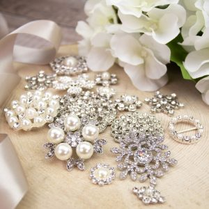 A pretty mix of embellishments for heirloom boouquets and guest books