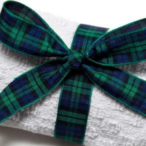 Woven tartan ribbon for double sided design