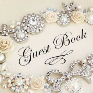 A beautiful close up of an heirloom guest book