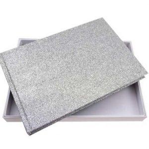 silver glitter guest book