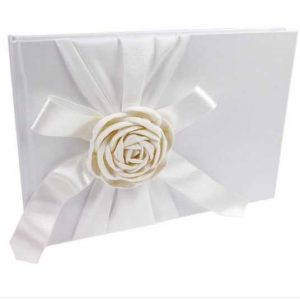 Soft ivory satin ribbon a paper rose decorated guest book