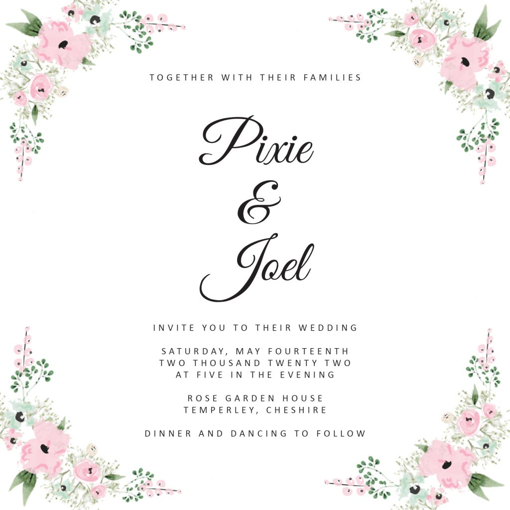 Wedding fonts- Great Vibes and Calibri