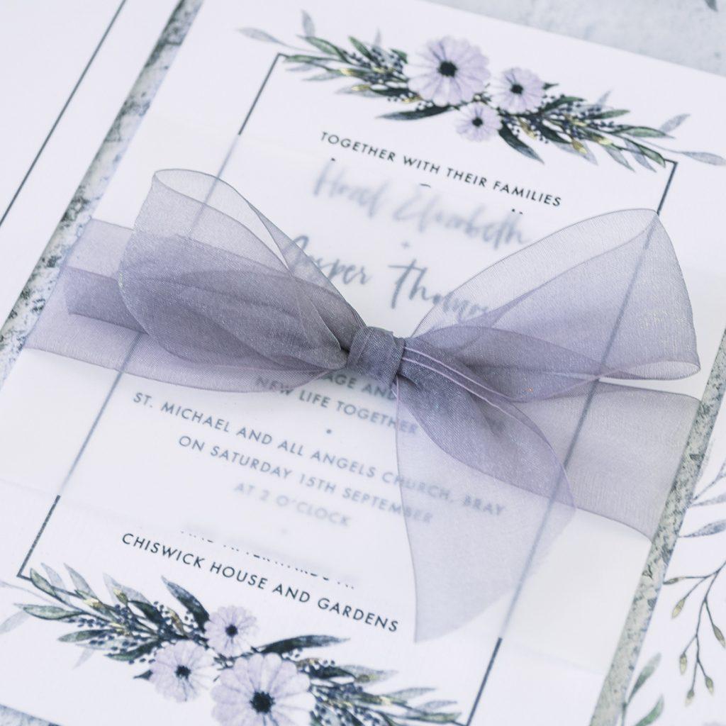 Weddings invitations using organza ribbon