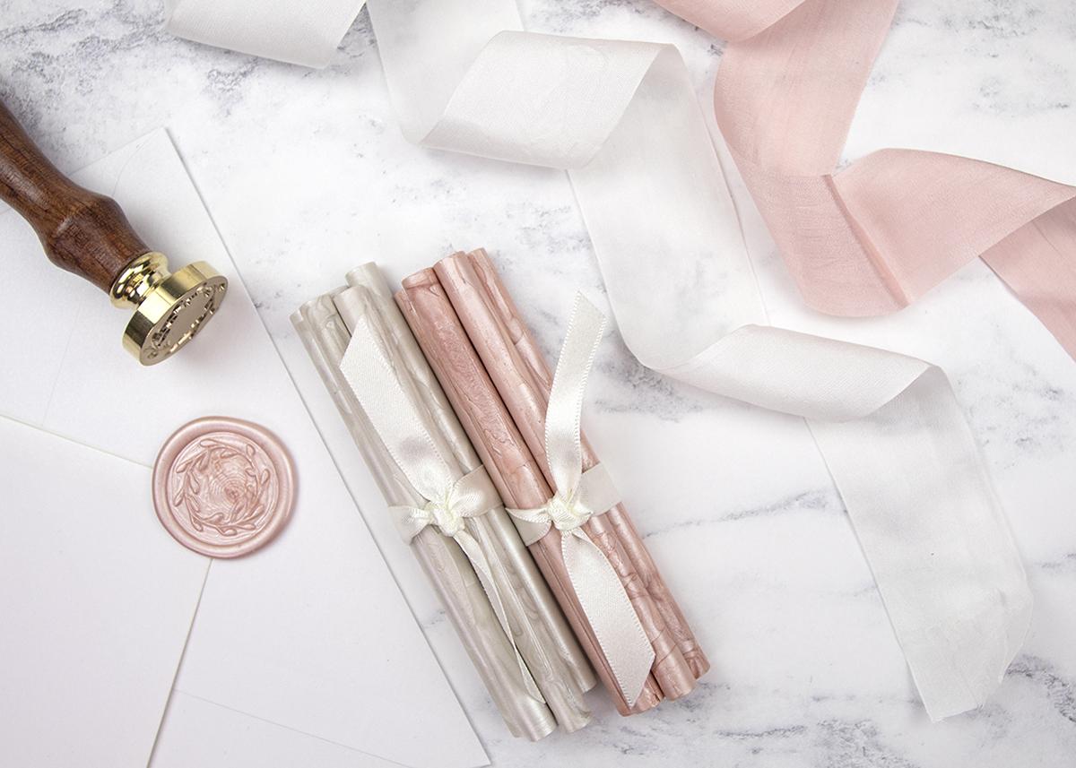 Rose Gold Wax Seals and Ribbon