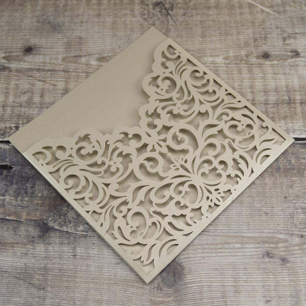 Milanese Wallet Royale Champagne Laser Cut Invitation