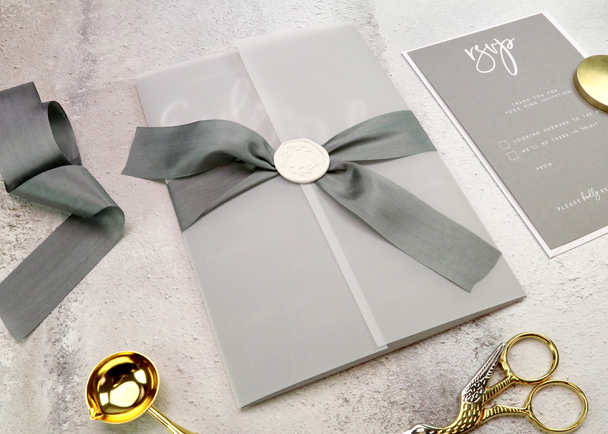 Vellum paper adds an air of luxury and mystery to your wedding invitation.