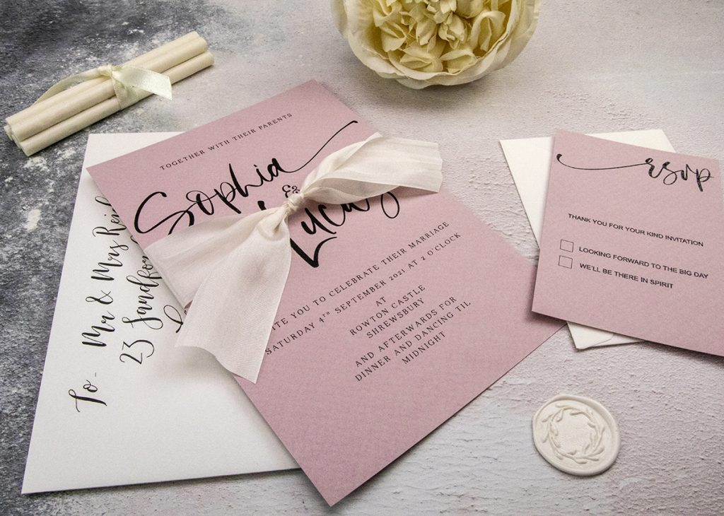Beautiful DIY wedding invitations.