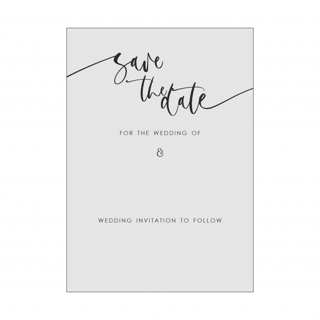 A6 Calligraphy style save the date card.