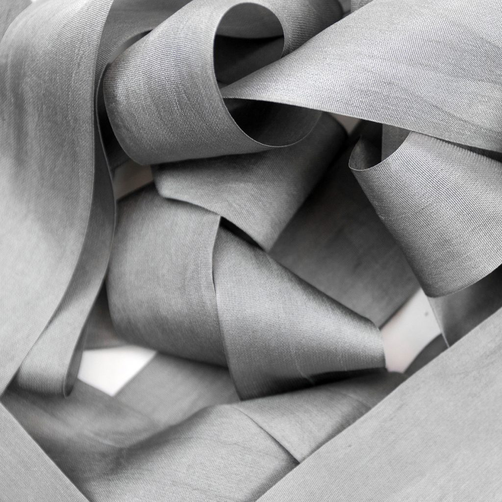 Gargoyle grey silk ribbon.