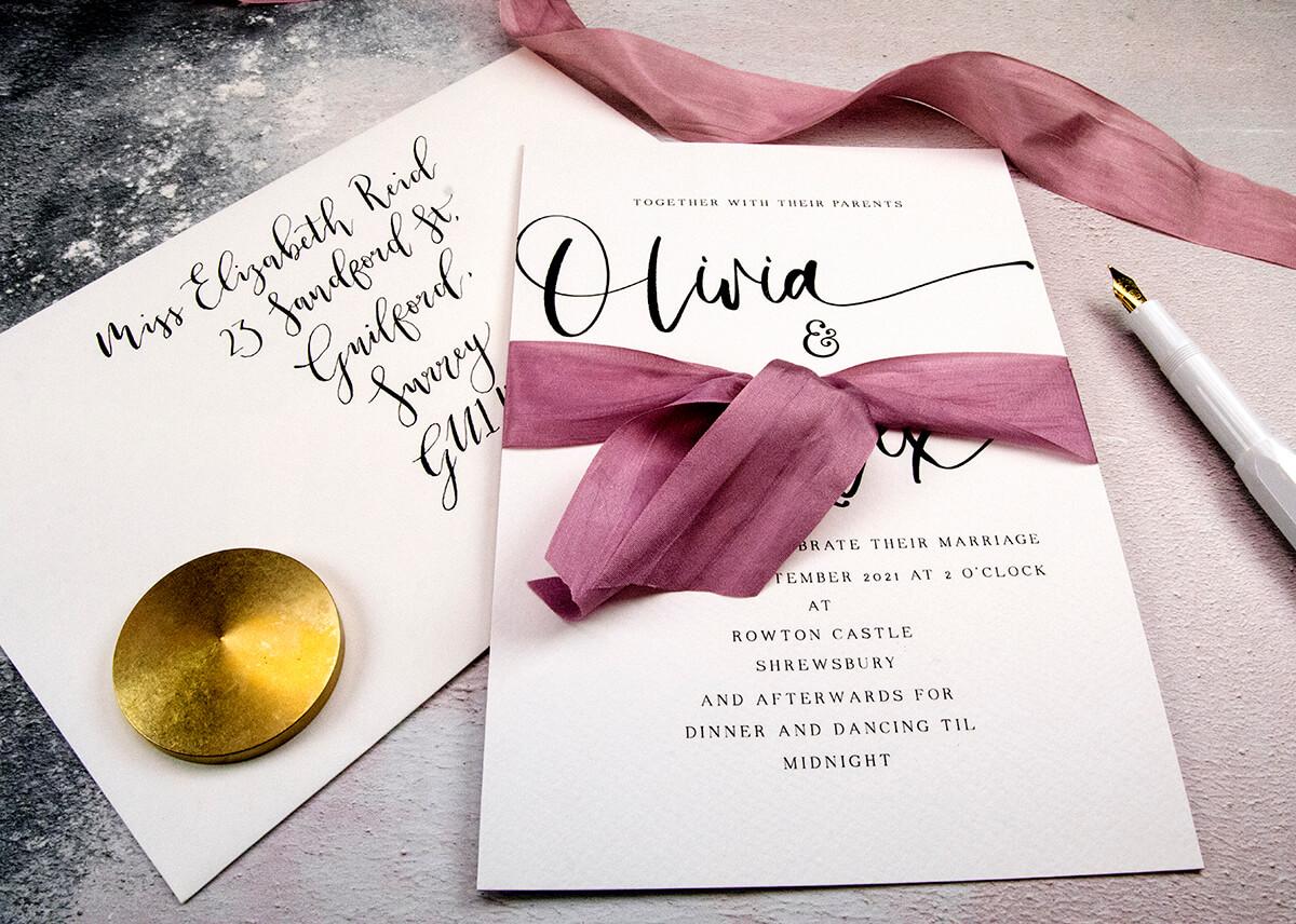 Wedding Invitations with Silk Ribbon