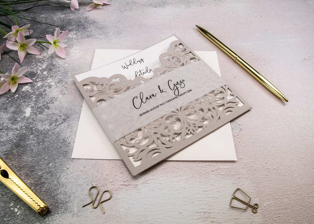 Wedding Invitation with Vellum Belly Band