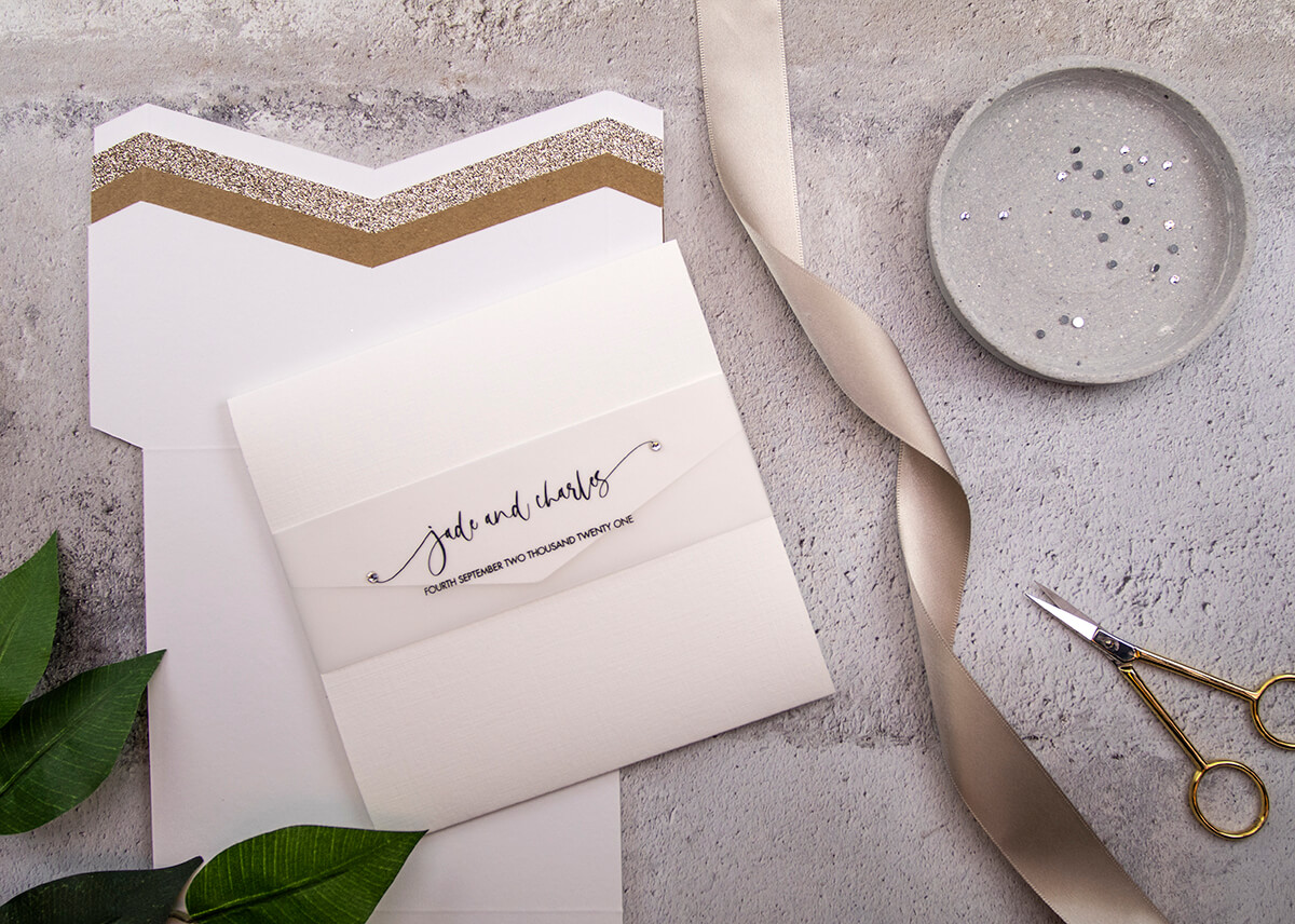 Pocketfold Invitation with Vellum Belly Band