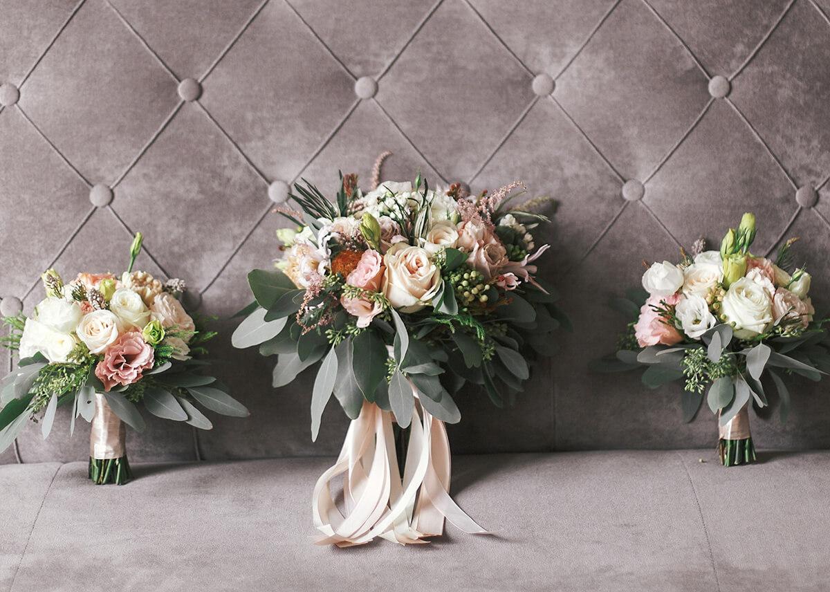 Wedding Bouquets on grey Sofa